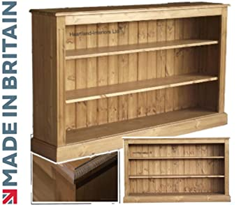 low pine bookcase 5ft wide handcrafted waxed bookshelves choice of colours no - Pine Bookshelves