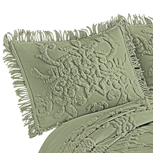 Collections Etc Cottage Charm Floral Lattice Chenille Pillow Sham with Fringe Edging, Sage, Standard