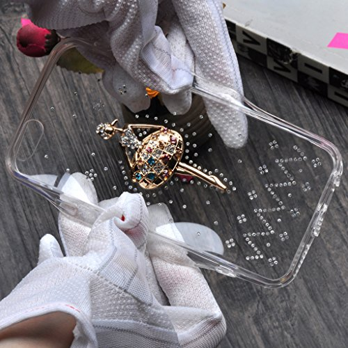 "Infinite U Jewellery 3D Danseuse de Ballet Bling Strass Souple TPU Gel Transparent Case/Coque/Etui de Téléphone Mobile pour iPhone 6/6s 4.7"" Femme"
