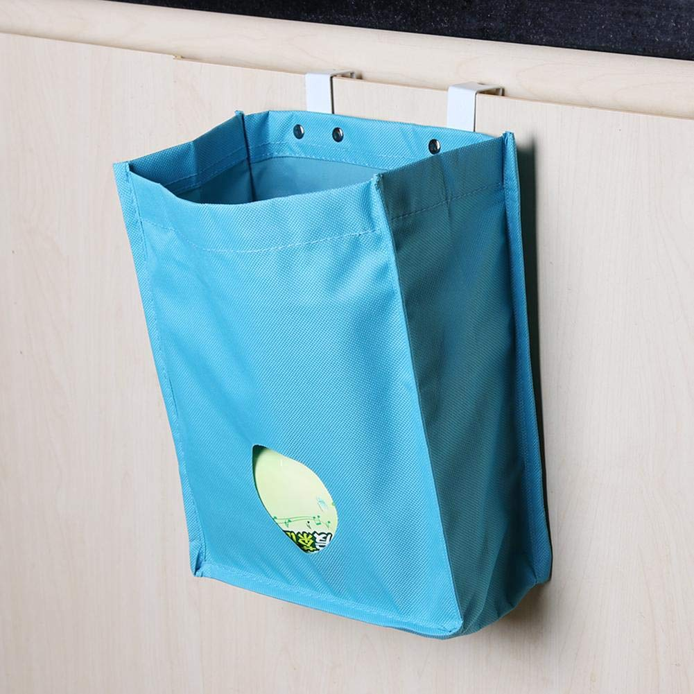 Blue Demiawaking Over Cabinet Carrier Bag Door Storage Garbage Holder Organiser Recycle Bags for Kitchen Cupboard 23 x 10.5 x 26.5 cm