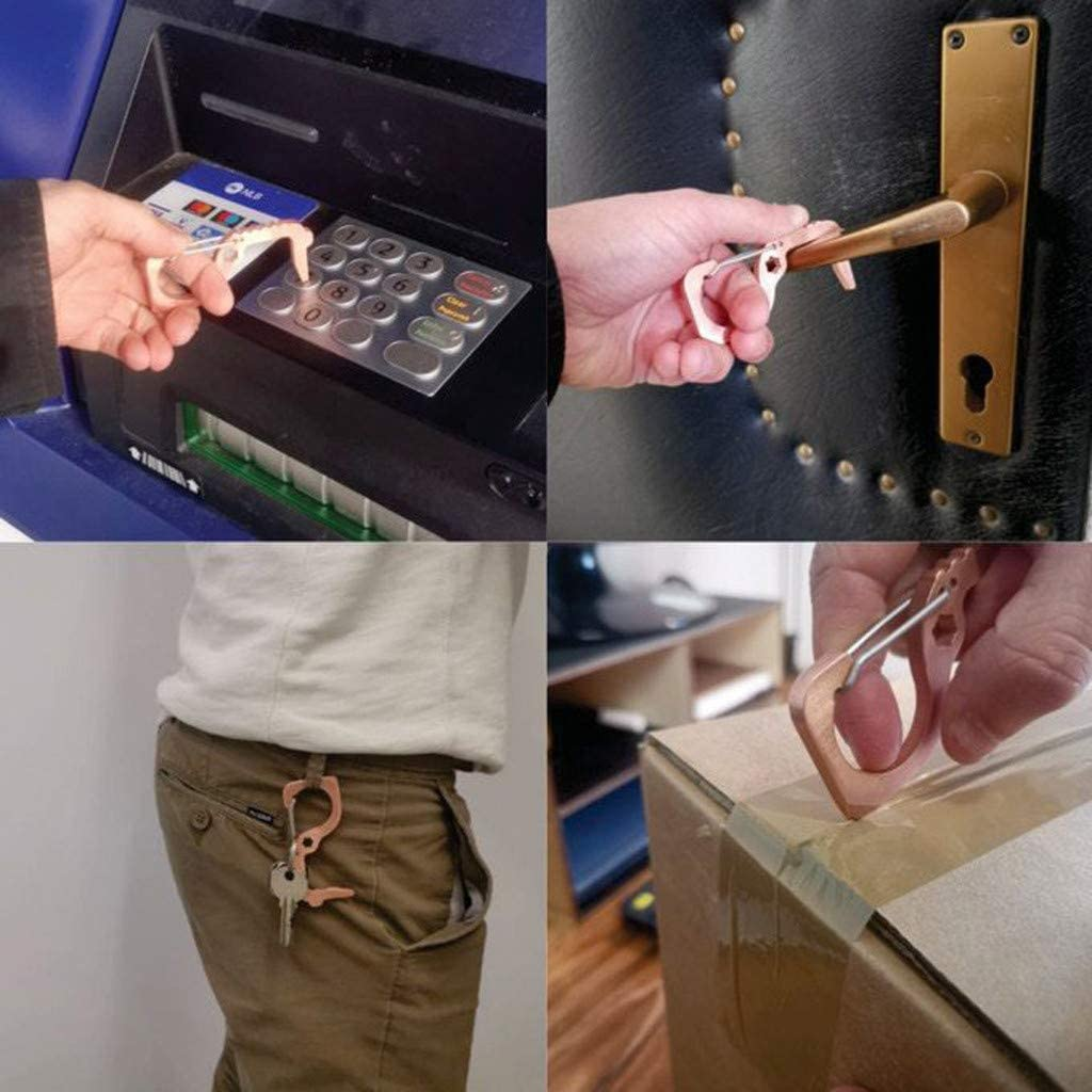 2 pcs Culater Contactless Safety Door Opener,No Touch EDC door Opener//Brass Key Opener Kits Keep Hands Clean Keychains Safety Protection