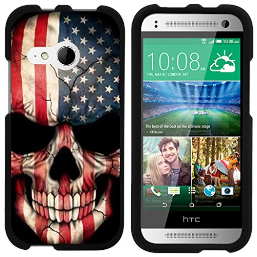 ible for HTC One M8 Mini Case | One Mini 2 | One Remix [Slim Duo] Two Piece Hard Cover Slim Snap On Case on Black - US Flag Skull ()