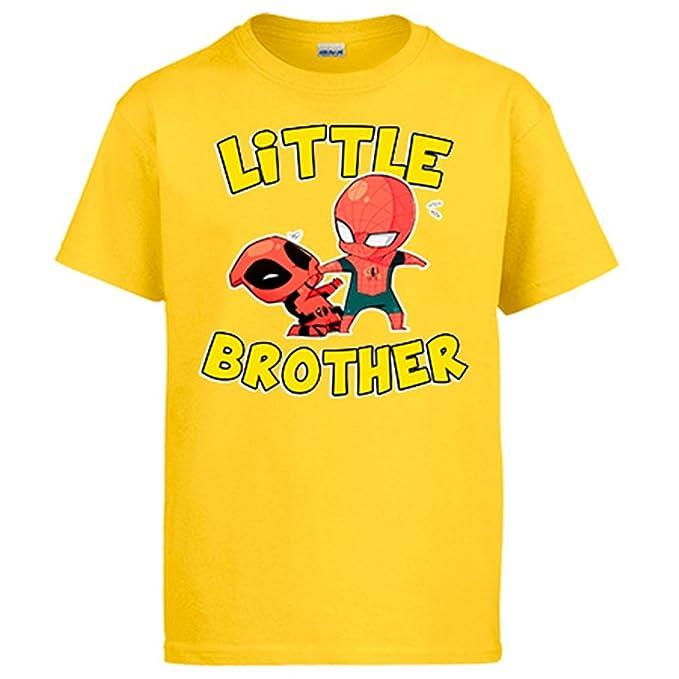 Diver Camisetas Camiseta Superhéroes Spiderman y Deadpool Little Brother para hermanitos: Amazon.es: Ropa y accesorios