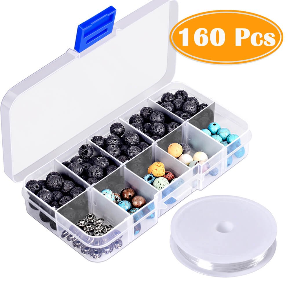 Paxcoo 160pcs 8mm Lava Stone Rock Beads with Gemstone for Jewelry Making 4336811917