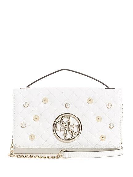 GUESS Fleur Crossbody Flap, White: Amazon.co.uk: Shoes & Bags