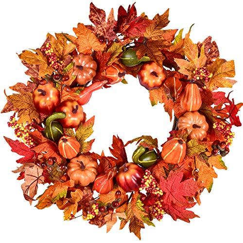 Artificial 20 inch Fall Wreath Door Wreath Autumn Wreath Maple Pumpkin Wreath Fall Decorations, Harvest Thanksgiving…