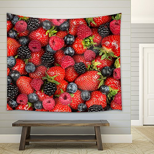 a Variation of Berry Fruits Fabric Wall