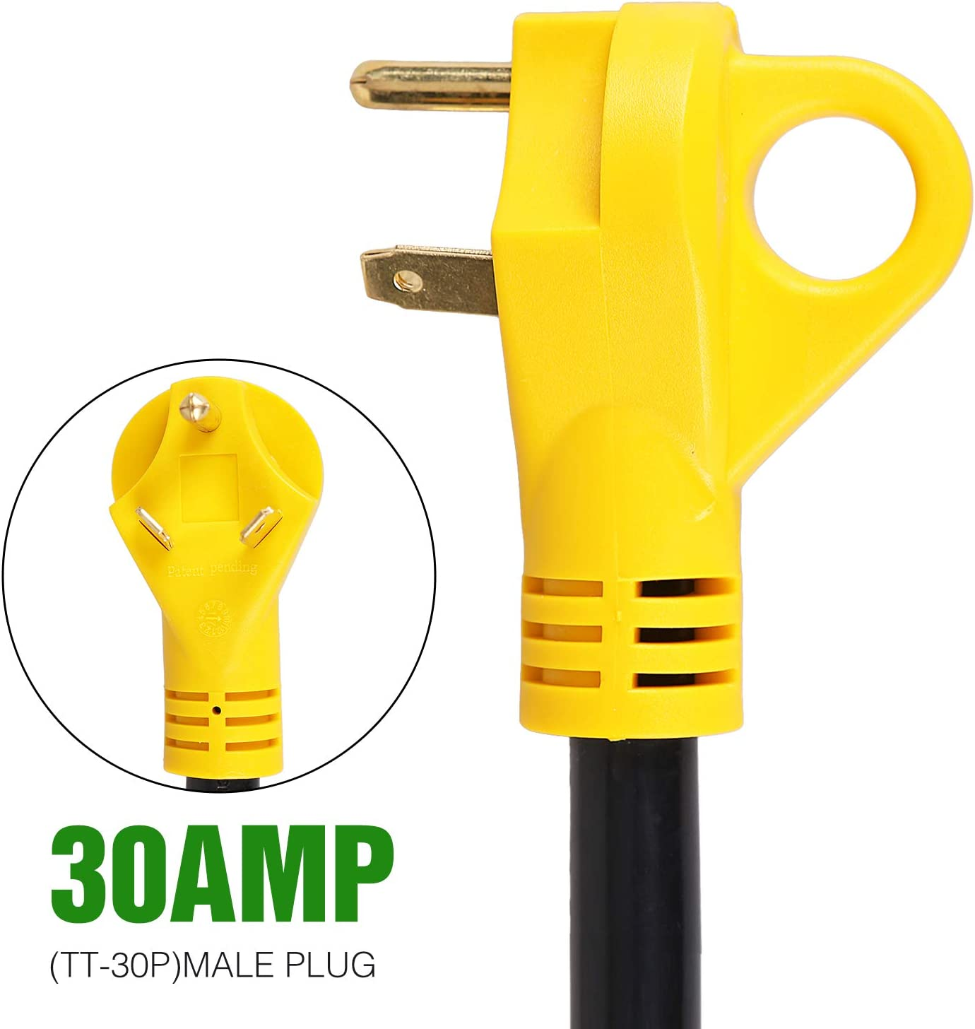 BrightHome 30 Amp Male to 50 Amp Female RV Power Cord, Heavy Duty Electrical Adapter with Dogbone Grip Handle, 30M/50F RV Plug Adapter, 12 Inches (125V/3750W): Automotive