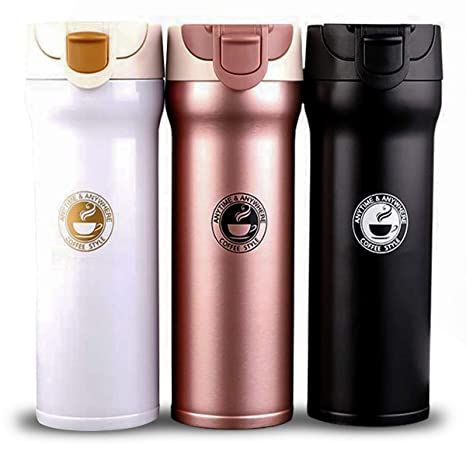 500ml Stainless Steel Mug Cup Heat Insulation Water Bottle Flasks Silicone Lid