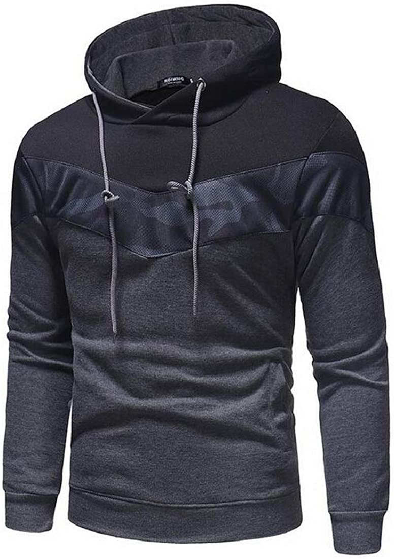 Fensajomon Mens Relaxed Fit Camo Patchwork Casual Long Sleeve Pullover Hoodies Sweatshirt