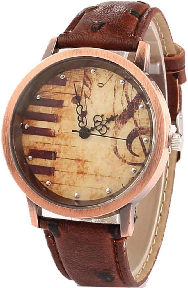 MoGist - Reloj de Pulsera para Mujer, Retro, con símbolo de música, Teclas de Piano, Correa de Piel, analógico, de Cuarzo, Regalo para Mujeres y niñas, marrón, 4cm*1cm