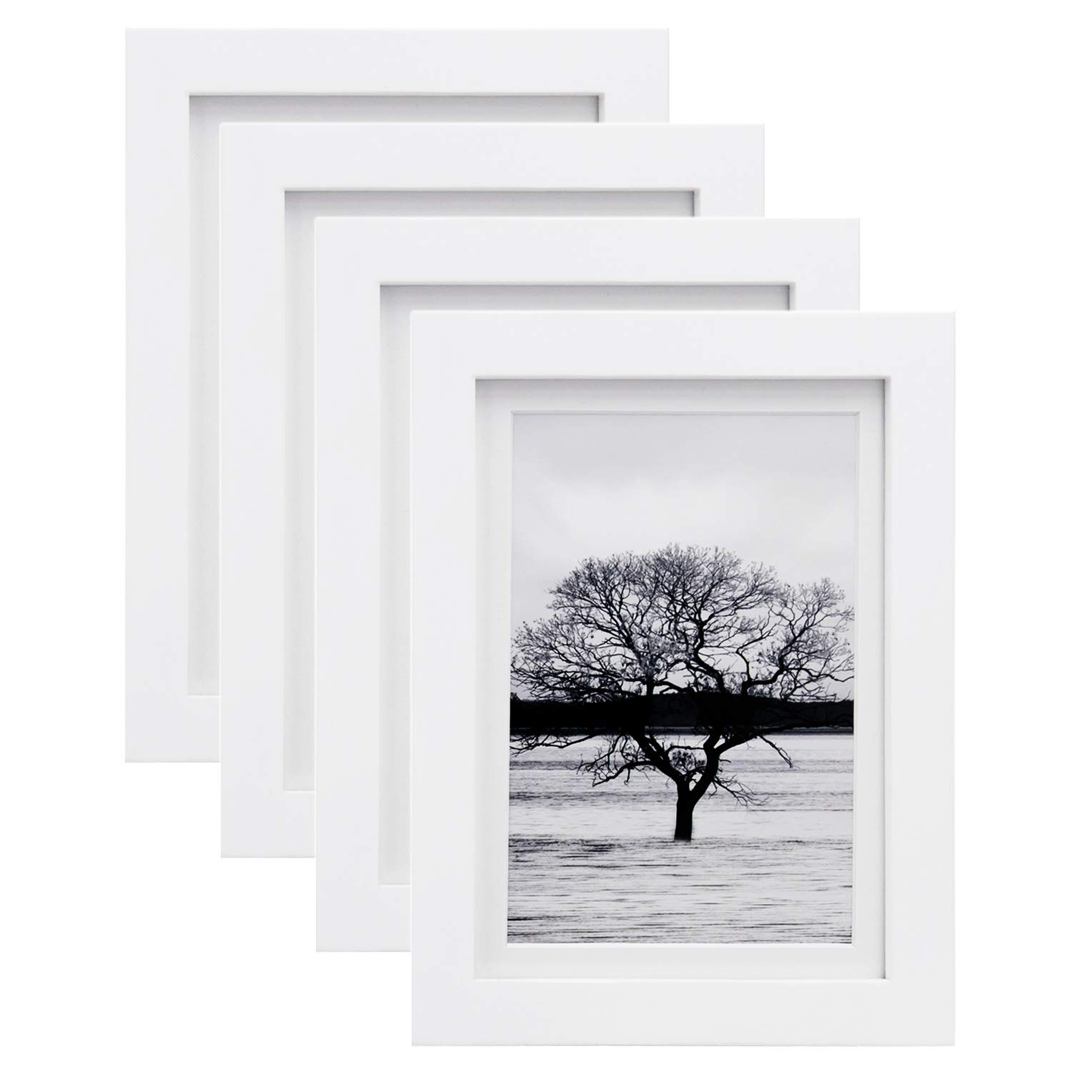 Egofine 5x7 Picture Frames 4 PCS - Made of Solid Wood HD Plexiglass for Table Top Display and Wall Mounting Photo Frame White by Egofine