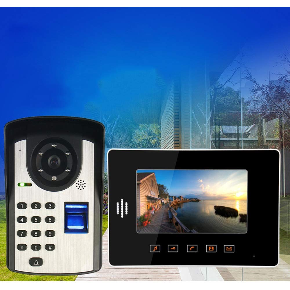 KRPENRIO Touch type 7 inch fingerprint password remote control unlocking video doorbell Night vision waterproof electronic visual smart doorbell by KRPENRIO (Image #3)