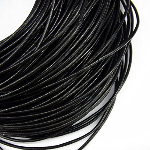 TheTasteJewelry 2mm Genuine Black Natural Leather Cord Rope Jewelry Making Finishings Round 10m String (Leather Wholesale Jewelry)