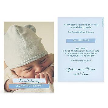 Greetinks 10 X Taufkarten Tauf Bild In Blau Personalisierte Taufeinladungen Zum Selbst Gestalten 10 Stück Einladungskarten Zur Taufe Von Baby