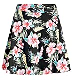 SSLR Women's Hawaiian Skirt Hibiscus Casual Flared A-line Short Skirt (XX-Large(34''-35''), Black)