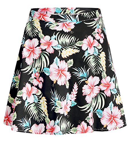 SSLR Women's Hawaiian Skirt Hibiscus Casual Flared A-line Short Skirt (Large, Black) (27 Inch Skirt)