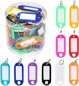 Gobesty Schlüssel Beschriften 50 Stück Mehrfarbige Kunststoff Schlüsselanhänger Id Label Tag Mit Ring Und Auswechselbare Kofferanhänger Auto