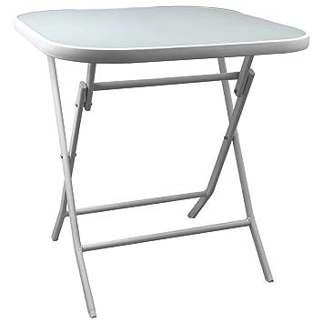 Table pliante 70 x 70 cm Blanc pliable Table d\'appoint Table ...