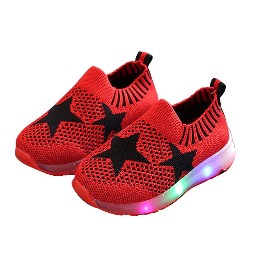 Red 27 Alamana Fashion Star Print Kids Girls Boys LED Light Sneaker Anti-Slip Casual Shoes
