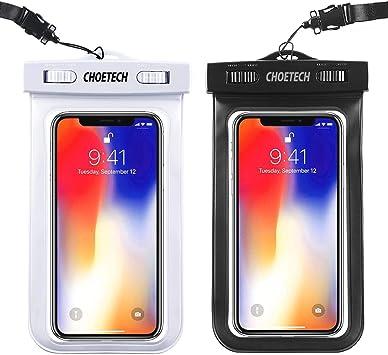 CHOETECH Funda Impermeable Universal,[2 Pack] Bolsa Impermeable Móvil, Funda Sumergible para iPhone 12/12Mini/11 Pro/SE/X/XS MAX/XR/8+,Samsung Galaxy ...