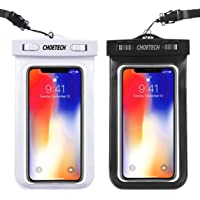 Universal Waterproof Case, CHOETECH 2Pack Clear Transparent Cellphone Waterproof with Neck Strap Compatible with iPhone X/XS/XS Max/XR/8/8 Plus, Samsung Galaxy S9/S8/S7 and All Devices Up to 6 Inches