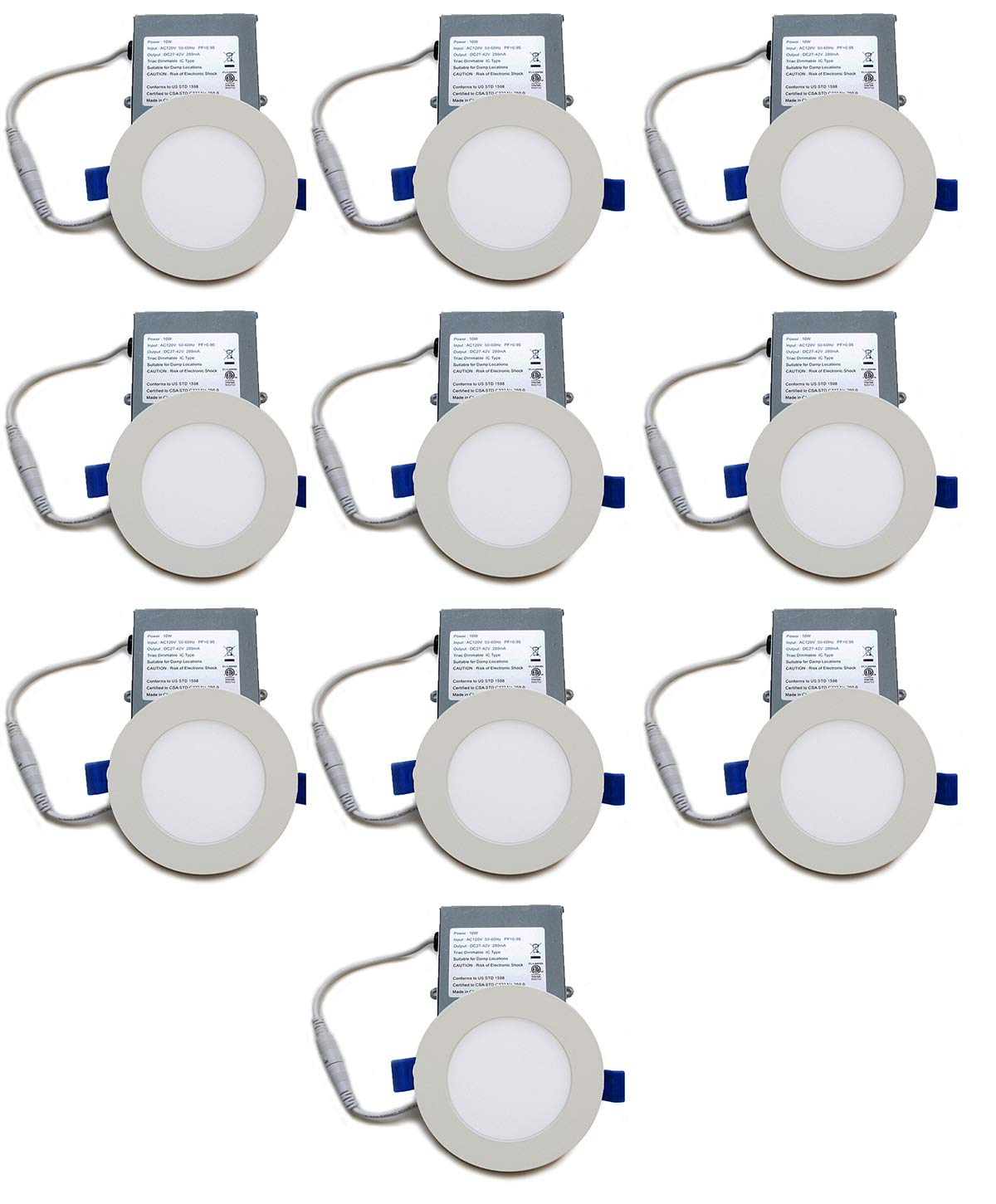 YUURTA (10-Pack) Slim LED Recessed Light (Pot Light/Downlight) 4-Inch 10W 4000K (Pure White) Dimmable Round White Trim Thin Panel with Driver in Junction Box 120V ETL Listed IC Rated (4-Inch, 4000K)