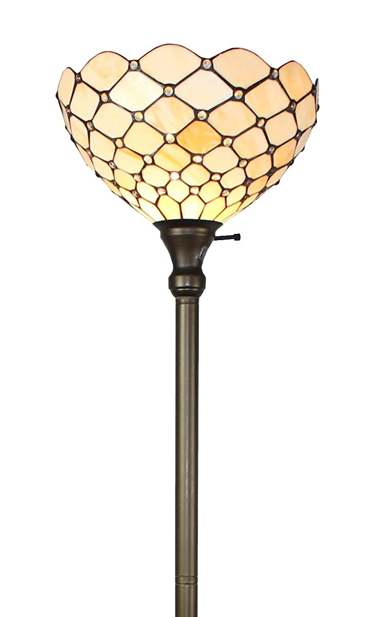 Amora Lighting AM1119FL14 Tiffany Style Floor Torchiere Lamp, 72-Inch
