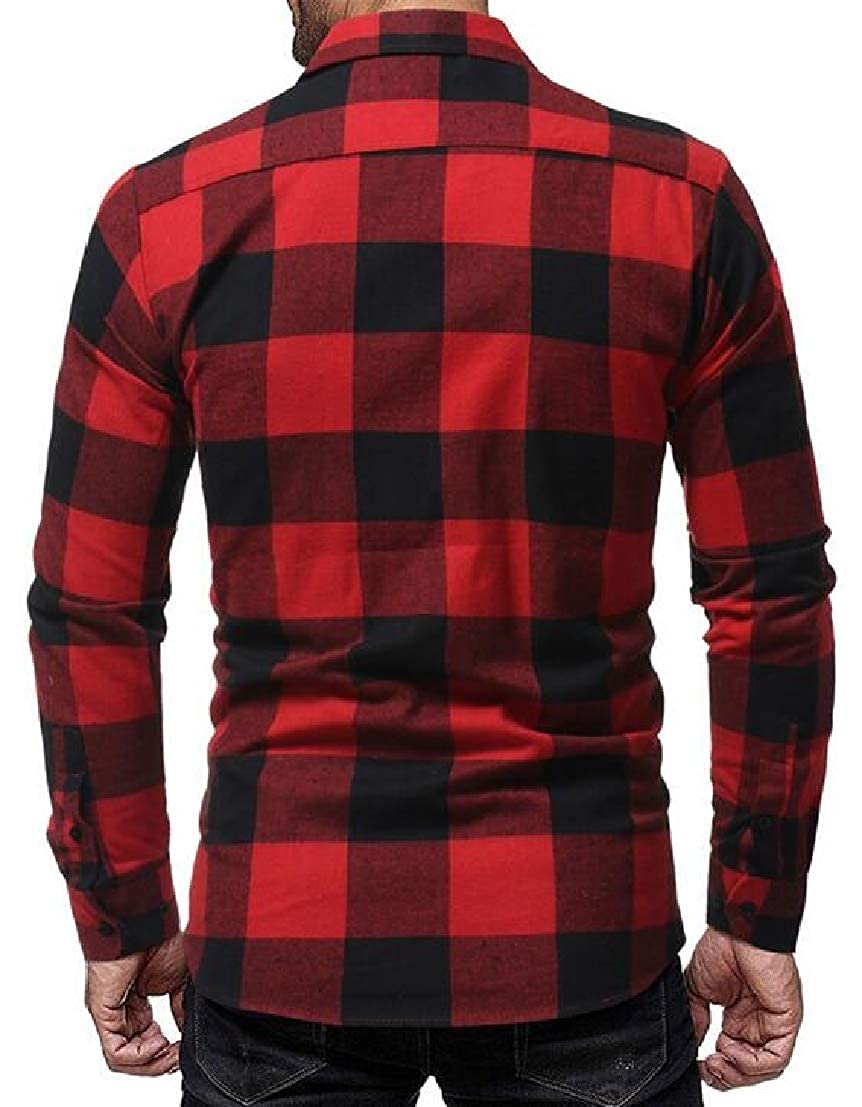 Generic Mens Basic Long Sleeve Plaid Checked Button Down Shirts Tops