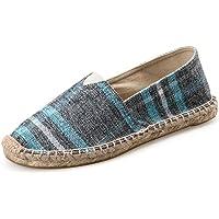 IDIFU Women's Men's Antiskid Slip On Canvas Espadrilles Flats Shoes