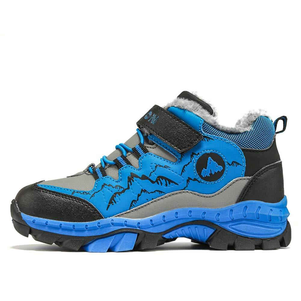 Chaussures de Randonn/ée Gar/çon Bottes de Neige Hiver Fourrure Hautes Botines Trekking Baskets Sport en Plein Air pour Enfants Bleu Vert Orange 30-40