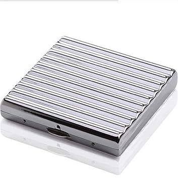 YXZN Caja De Cigarrillo De Acero Inoxidable Cigarrillos Ultra Delgadas De Los Hombres Portátiles Pueden Acomodar 20