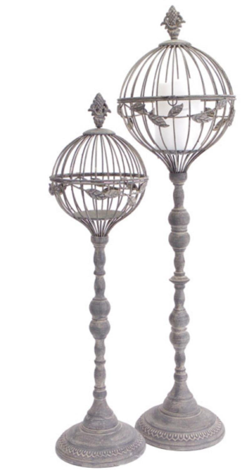 Set of 2 Distressed Finish Dome Pillar Candle Holders with Leaf Design