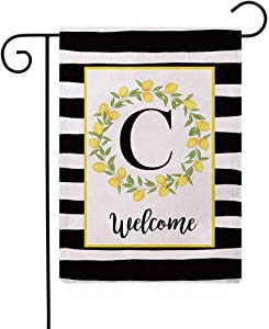 ULOVE LOVE YOURSELF Welcome Farmhouse Decorative Garden Flags with Letter C/Lemons Wreath Double Sided House Yard Patio Outdoor Garden Flags Small Garden Flag 12.5×18 Inch(C)