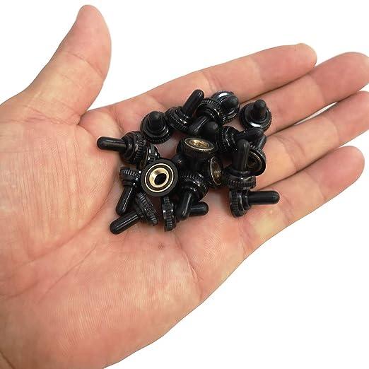CESFONJER Paquet de 20 Interrupteurs /à Bascule /à 6mm Mini Filets Caoutchouc Capuchon /étanche Noir pour Mini Metal Interrupteur /À Bascule Flip