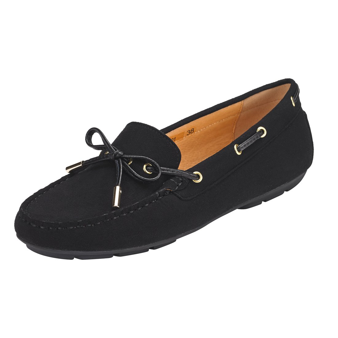 JENN ARDOR Suede Penny Loafers for Women: Vegan Leather Bow Knot Slip-On Driving Moccasins-Black