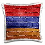 Carsten Reisinger Illustrations - National flag of Armenia painted onto a brick wall Armenian - 16x16 inch Pillow Case (pc_155173_1)