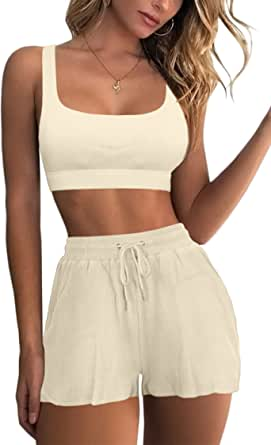Mulisky Women's 2 Piece Workout Outfits Ribbed Seamless High Waist Yoga Sports Shorts with Pockets Tracksuits Sets