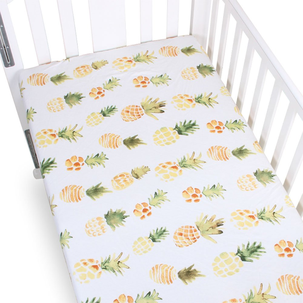 Fitted Crib Sheet 100% Organic Cotton- Premium Baby Bedding - Soft, Breathable & Durable - Pineapple