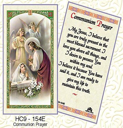 Kneeling Girl (Communion Prayer - Girl Kneeling Laminated Prayer Cards - Pack of 25 - HC9-154E)