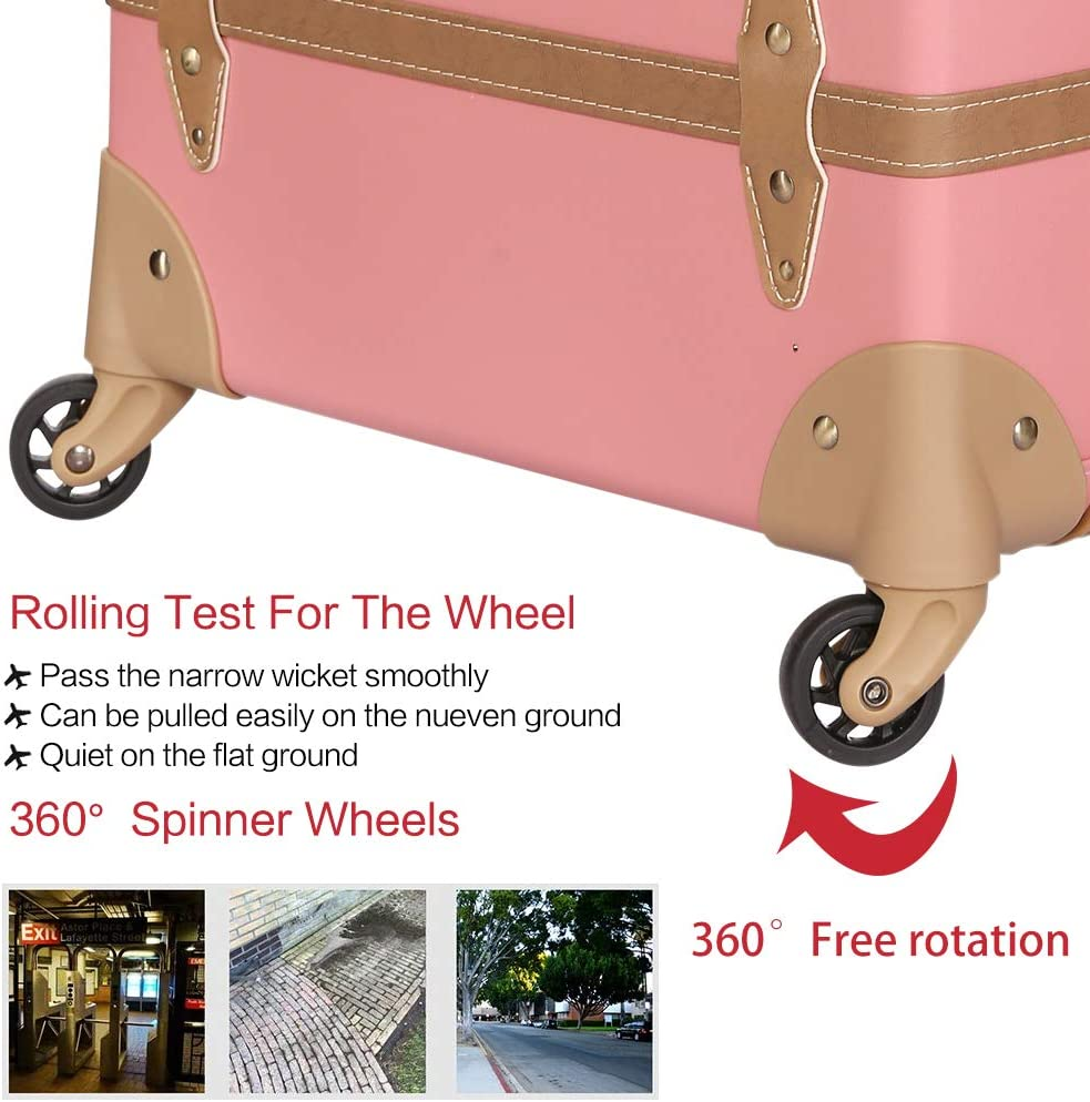 High Capacity Luggage Travel Suitcase with Spinner Wheels zipper pink, 28