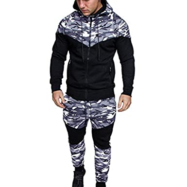 457a43e43398 GJKK Herren Casual Herbst Winter Camouflage Sweatshirt Hooded Top Hosen  Sets Sport Anzug Trainingsanzug (Schwarz