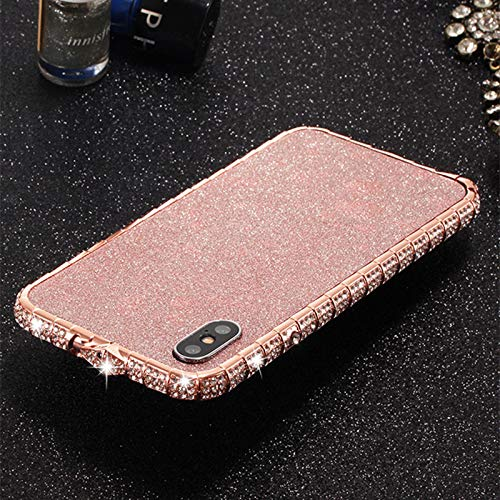 iPhone Xs Max Case, DMaos Diamond Metal Bumper with Front Screen Protector and Back Glitter Sticker, Sparkly Eyes-Catching for Women, Premium for iPhone 10s Max/iPhone Xs Max 2018 6.5