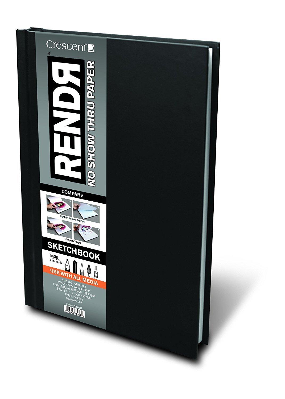 Crescent Creative Products 12-00011 Rendr Hardbound Sketchbook, 8.5'' x 11'' (4 Pack)
