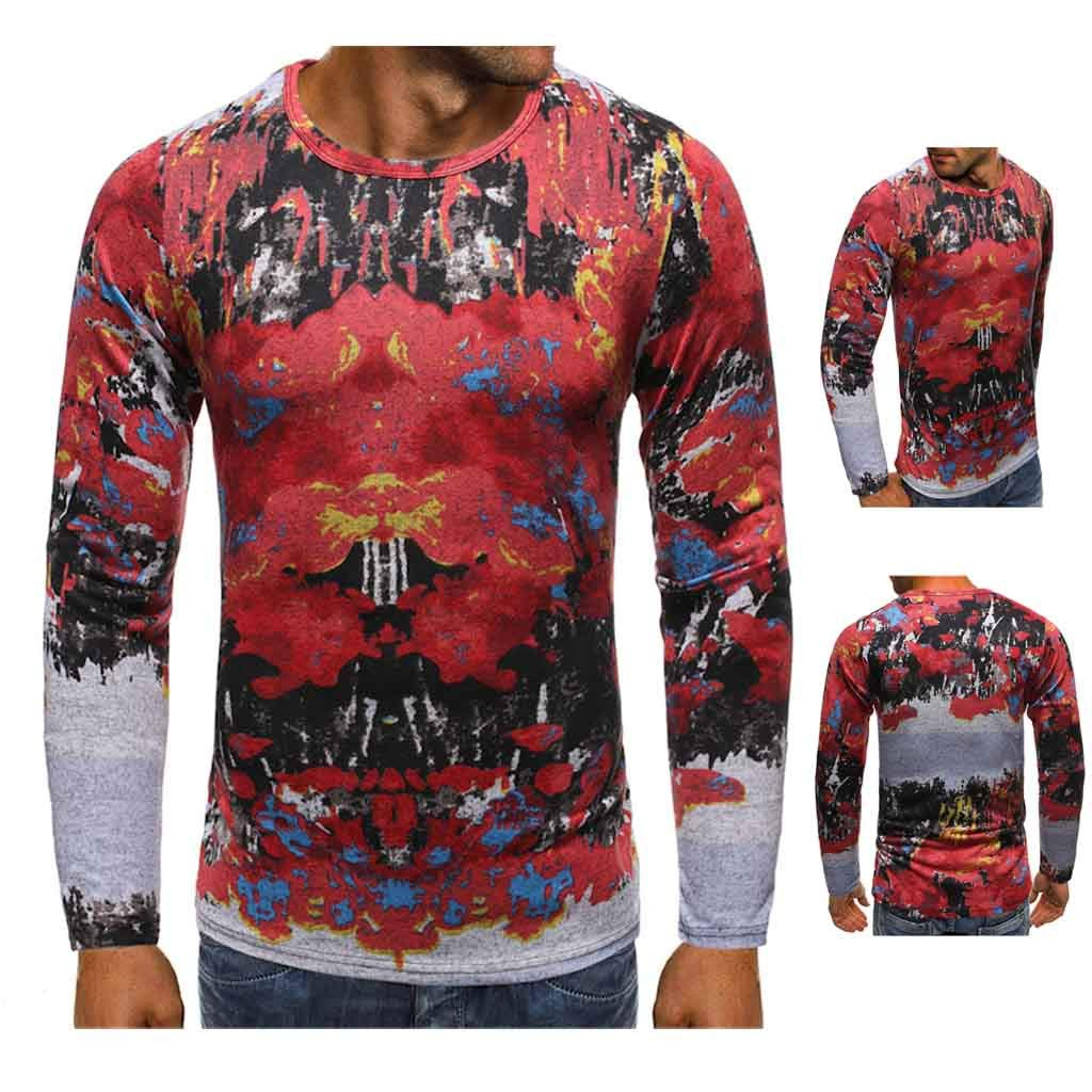 1KTon Men Christmas Pullover Sweatshirts Fun Ugly 3D Digital Printed Graphic Long Sleeve Shirts by 1KTon