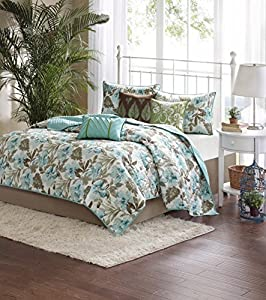 Madison Park Martinique 6 Piece Quilted Coverlet Set, Full/Queen, Teal