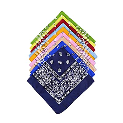 Paisley Bandanas, Cowboy Head Scarf, Double Sided Cotton Turban Face Cover Headband Neck Gaiter Wristband Headwrap (9pc, Multicolored): Electronics