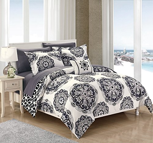 Chic Home Barcelona 8 Piece Reversible Comforter Set Microfiber Printed Medallion Design with Geometric Patterned Backing Bed in a Bag with Sheet Set and Decorative Pillows Shams,Full/Queen ()