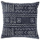 Rivet Mudcloth-Inspired Pillow, 17'' x 17'', Navy