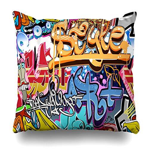 Ahawoso Decorative Throw Pillow Cover Square 18x18 Colorful Grafiti Graffity Wall Street Grafitti Abstract Graffiti Graffitti Urban Style Rap Graphitti Zippered Pillowcase Home Decor Cushion Case (Graffity Cool)